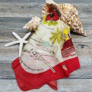 Vintage Bermuda map souvenir scarf